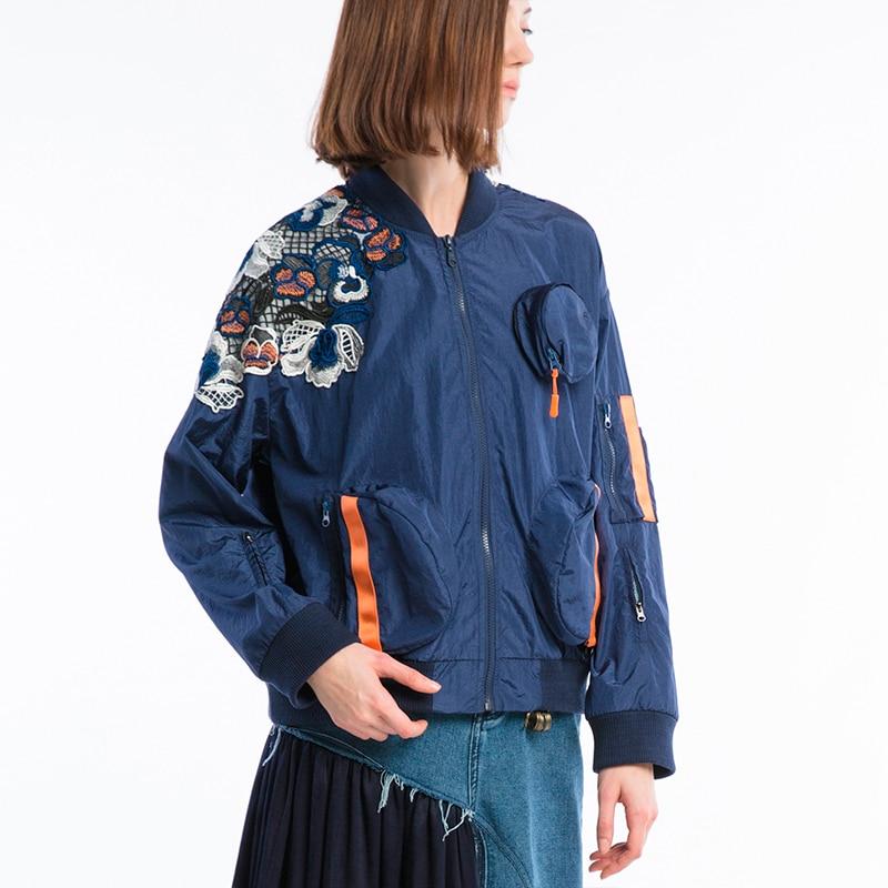 IRINAW007 оригинальный дизайн Новое поступление 2018 кружева лоскутное стиль сафари свободная повседневная куртка для женщин