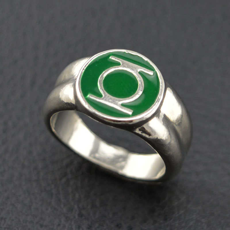 Dc comics marvel movie green lantern ring silver rings for men jewelry replica overwatch font b