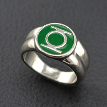 Dc comics marvel movie green lantern ring silver rings for men jewelry replica overwatch anime jewel ring for men