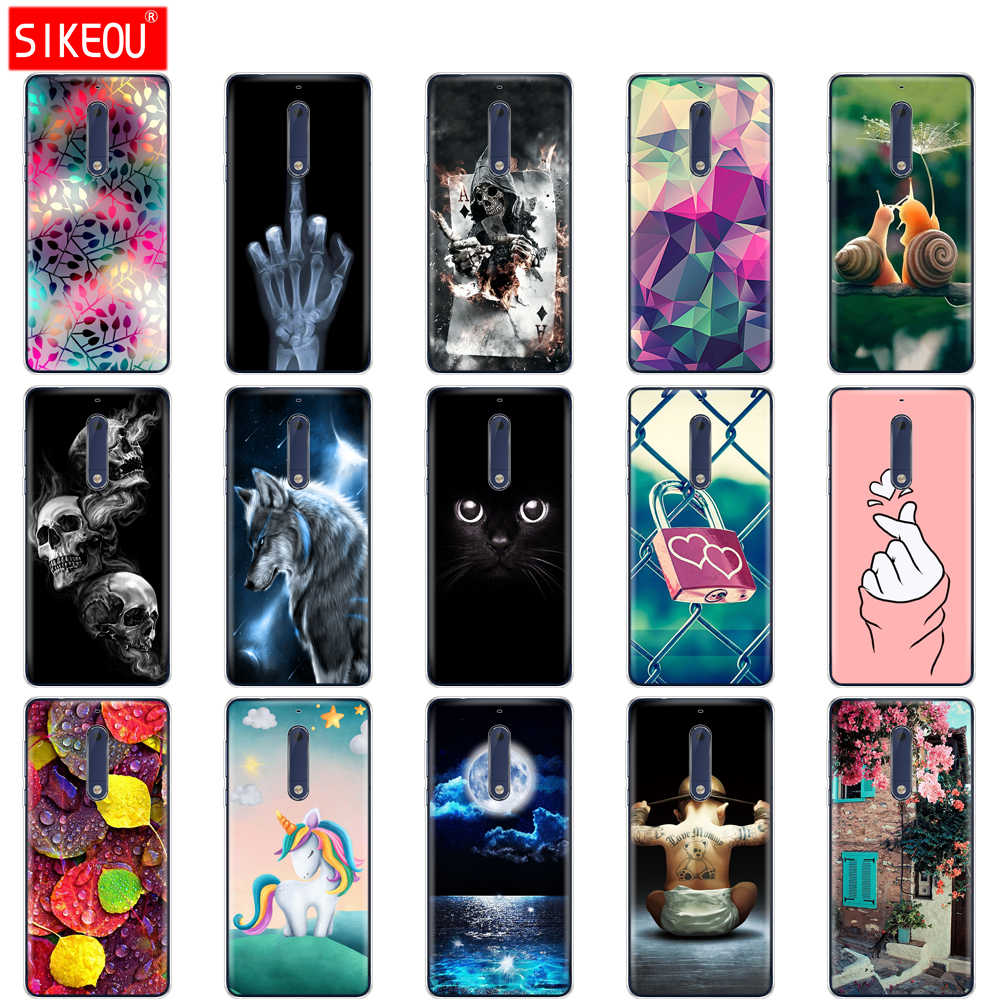 Silicon case for Nokia 1 2 2.1 3 3.1 5 5.1 plus 2018 soft tpu back cover shockproof Coque bumper Cat flower