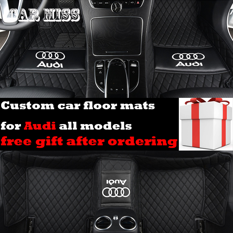 custom logo car floor mats for audi tt mk1 a3 a5 sportback A1 A4 A6 A7 A8 S3 S5 S6 S7 S8 R8 SQ5 Q3 Q5 Q7 all model car mats