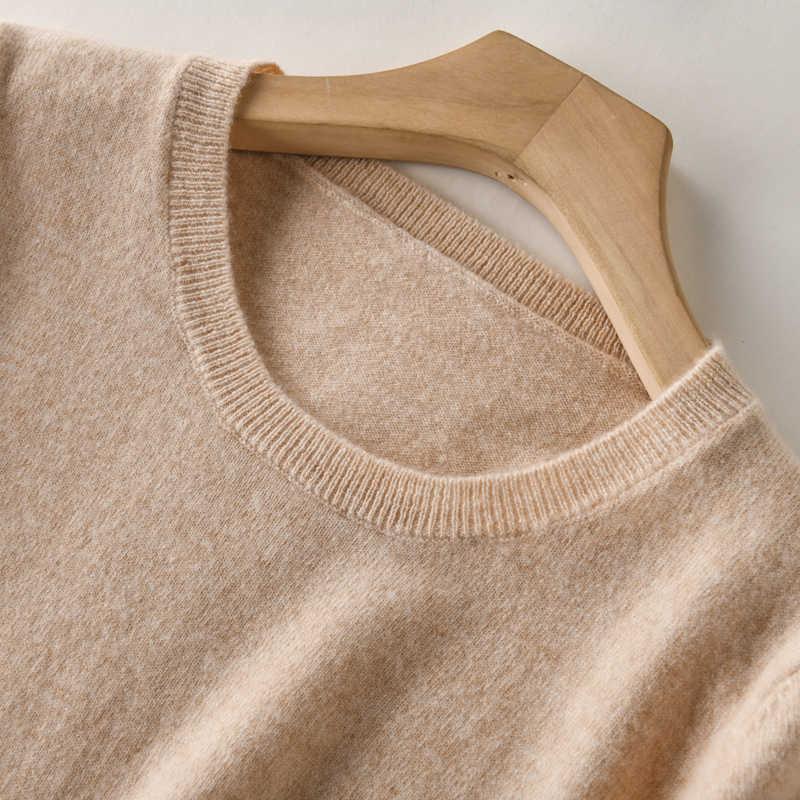 SZDYQH Mùa Xuân Mới 100% Cashmere Và Len Ngọn của Phụ Nữ Ngắn Tay Áo Dệt Kim Áo Thun 2019 Mùa Hè Nữ O-Cổ Màu Rắn áo len