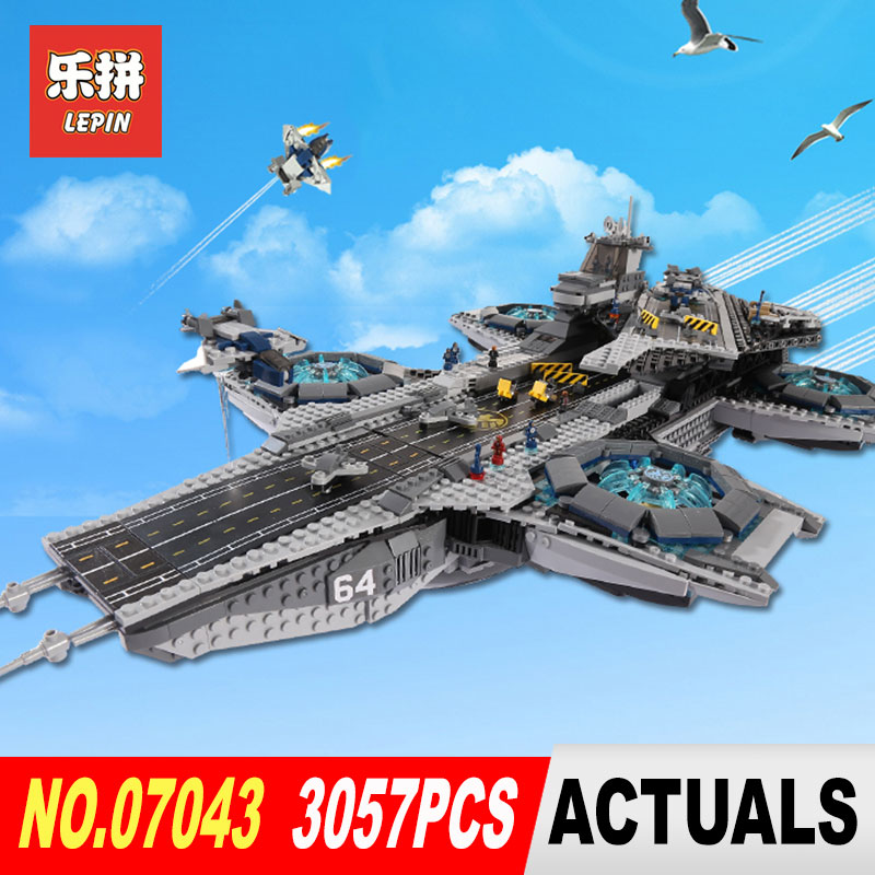 DHL Lepin 07043 3057Pcs Super Heroes The Shield Helicarrier Model Building Kits Blocks Bricks Toys Compatible 76042 lepin 07043 3057pcs super heroes the shield helicarrier model building blocks bricks toys kits for children compatible 76042