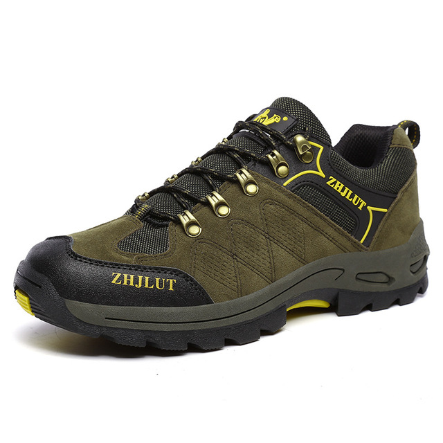Mens Non-Slip Wear-Resistant Net Yarn Lace Up Hiking Shoes