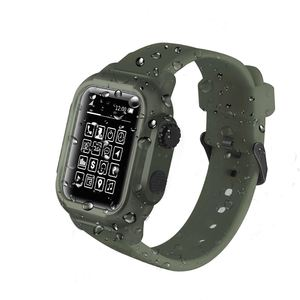 Image 2 - Full Protect IP68 Waterproof Case for Apple Watch Series 5 4 3 2 Silicone Strap Bracelet for iWatch 44mm 42mm Sport Band Cover