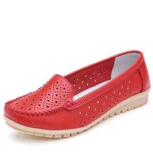 Image 3 - Dobeyping yeni stil ayakkabı kadın yumuşak hakiki deri kadın Flats ayakkabı üzerinde kayma kadın mokasen rahat anne ayakkabı artı boyutu 35 42