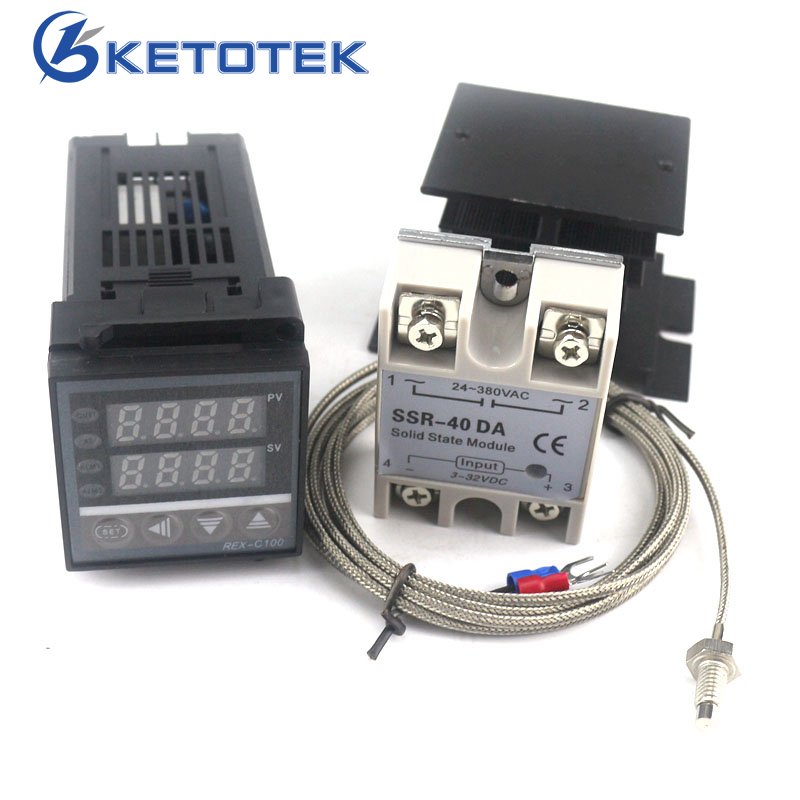 Dual Digital PID Temperature Controller Thermostat Kit REX-C100 with SSR-40DA + heat sink + 2m quality K probe Thermocouple parker картридж с чернилами quink short для перьевой ручки цвет чернил синий 6 шт