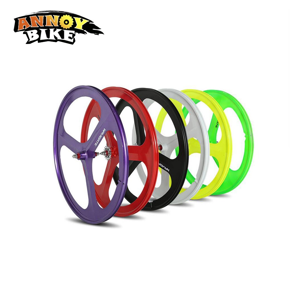 1set Front And Rear 700C Road Bike Wheel Bicycle Magnesium Alloy Three Spokes Parts Integrated Wheel Fixed Gear Single Speed