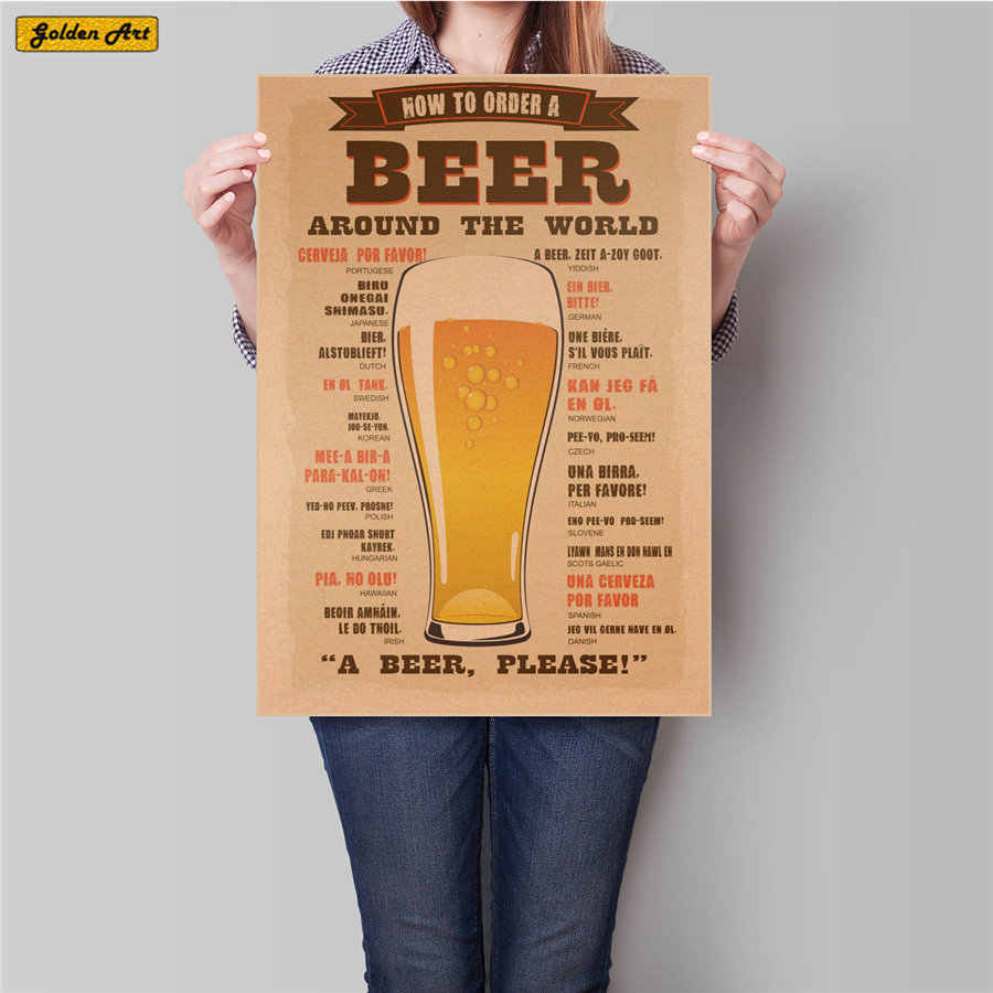 Beer Bar poster Vintage Print painting Retro drawing and wine wall sticker home antique painting 45.5x31.5cm