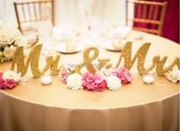 Personlized custom Gold Glitter mr & mrs letter photo props wedding table decoration one set