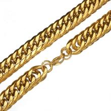 Granny Chic 19mm Mens Necklace Thick Gold Color Stainless Steel Male Curb Cuban Link Chains For Men Hip Hop Jewelry
