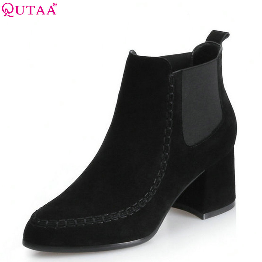 QUTAA 2018 Women Ankle Boots Cow Suede Fashion Elastic Band Pointed Toe Square High Heel  High Quality Women Boots Size  34-39 qutaa 2018 women ankle boots cow suedezipper fashion pointed toe all match square high heel high quality women boots size 34 39