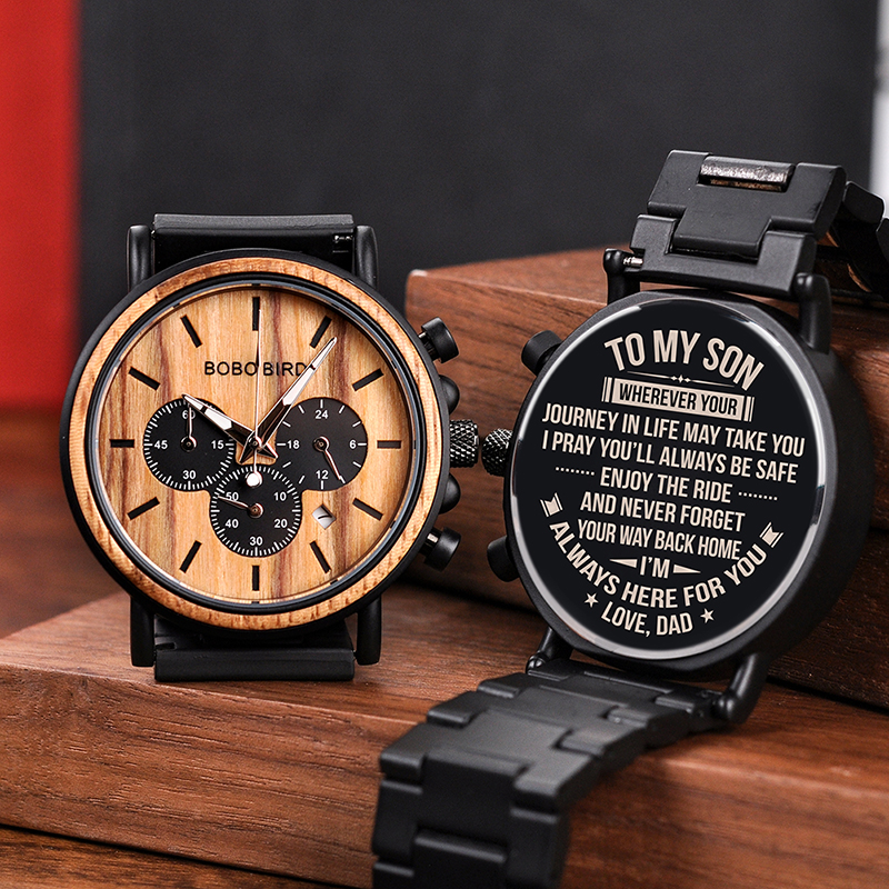 Engraved Wood Watch for Men Personalized Wooden Watches Anniversary Wedding Gift for Him Gift for Dad
