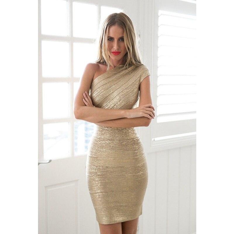 Feuille d'or-imprimer une épaule Bandage moulante fête célébrité Style robes femmes Mini Vestidos