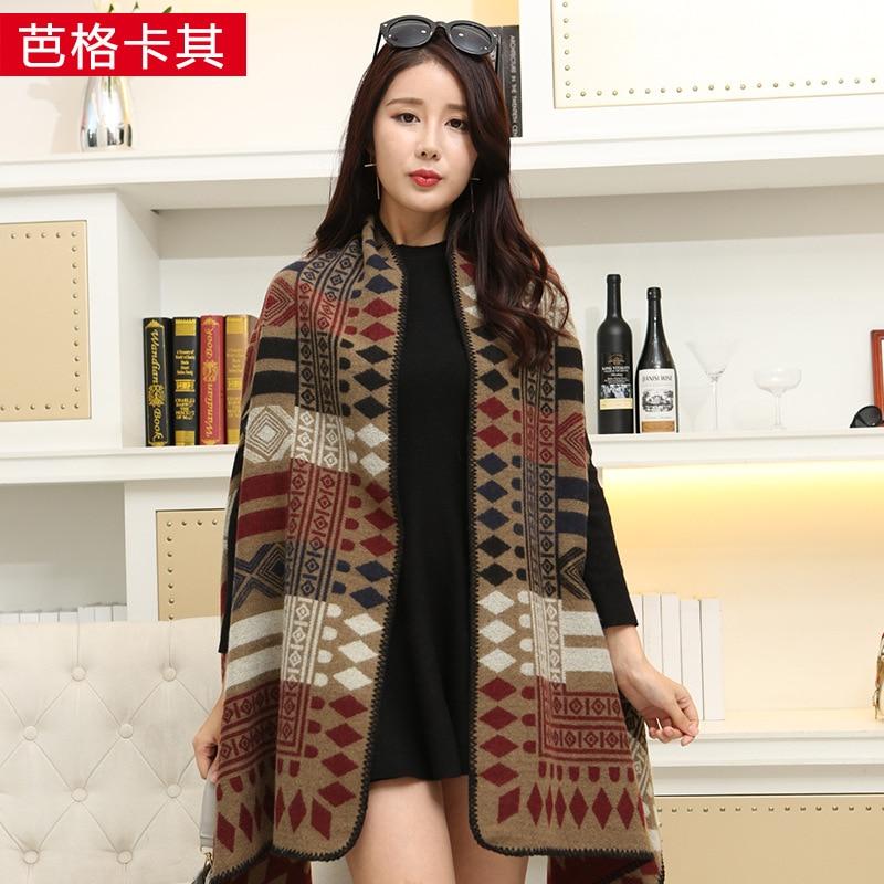 Новинка, роскошный брендовый женский зимний шарф, теплая шаль, женское Клетчатое одеяло, вязанное кашемировое пончо, накидки для женщин, echarpe - Цвет: Diamond latticekhaki