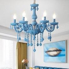 Modern kids room chandeliers Bedroom Children Nursery princess hanging lamp Indoor house Sky Blue Color girls chandelier
