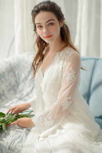 Image 5 - Lace Robe Long Robe Lady White Lace Embroidery Robe and Slip Two Pieces For Women Robe Sleepwear Bride