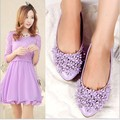 2014 new summer spring women flats,pointed toe with flowers,vintage slip-on bigger size shoes 34-42 free shipping 1812