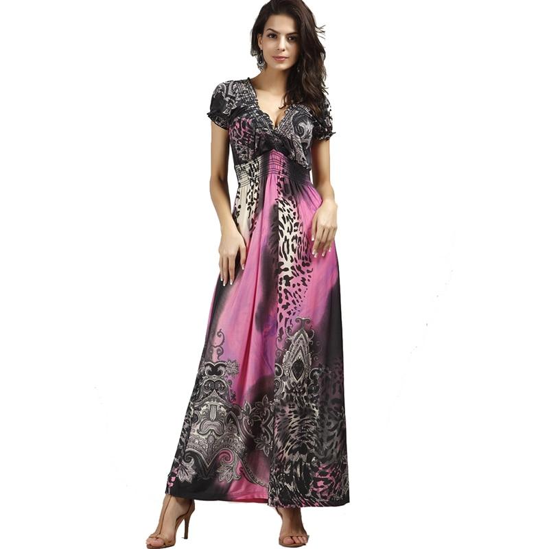 Summer Beach Dress Floor Length Short Sleeve Bohemian Dress Leopard Print Dress Deep V Neck Sexy Long Dress Vestidos