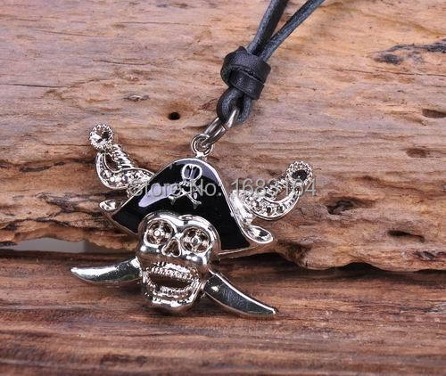 N188 Black Caribbean Pirates Skull Pendant Charm Surfer Leather Choker Necklace Mens
