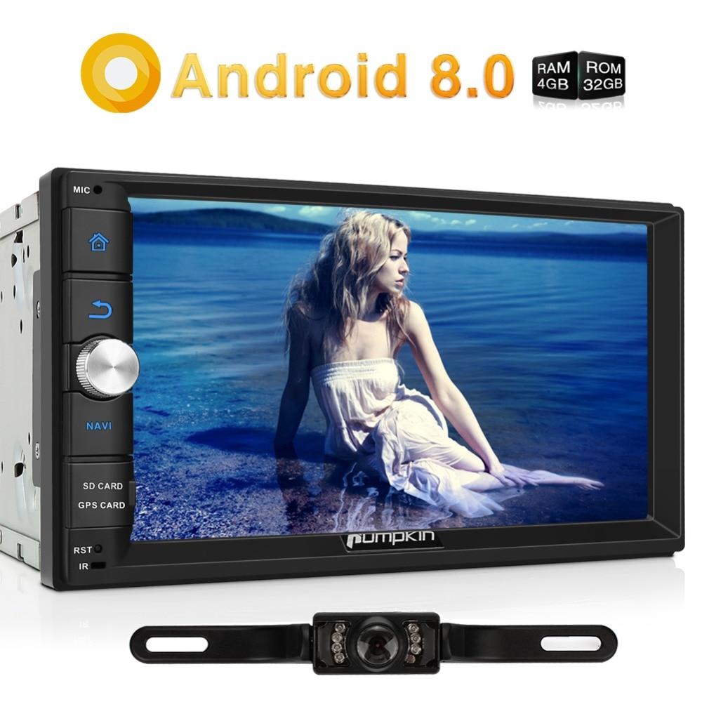 Тыквы Android 8,0 универсальный автомобильный радиоприемник 2 Din 7 ''стерео gps навигации Qcta-Core 4G B Оперативная память wi-Fi 4G Видео Аудио плеер NO DVD