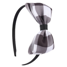 2 Pcs/Lot Red Black Plaid Hair Bow Headbands for Girls Grosgrain Ribbon Hairbands Teen Boutique Tiara Hair Accessories