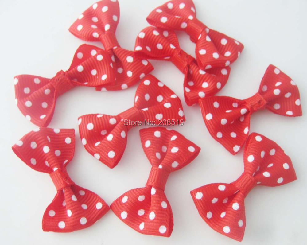 FZNNSG 10PCS red bows hairclip accessories printed dots ribbon bowtie 4cm long in DIY Craft Supplies from Home Garden