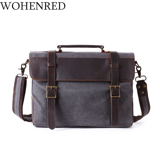79a623f758e8 US $45.94 49% OFF|Vintage Canvas Leather Briefcases Men Shoulder Bags  Casual Computer Laptop Bag Multifunction Satchel School Messenger Bag Male  on ...