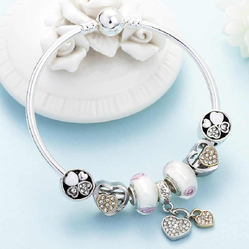 DINGLLY Pink Heart Charm pulseras y brazaletes con Bowknot pulsera de cuentas de plata para Mujeres Hombres parejas amor amistad brazalete