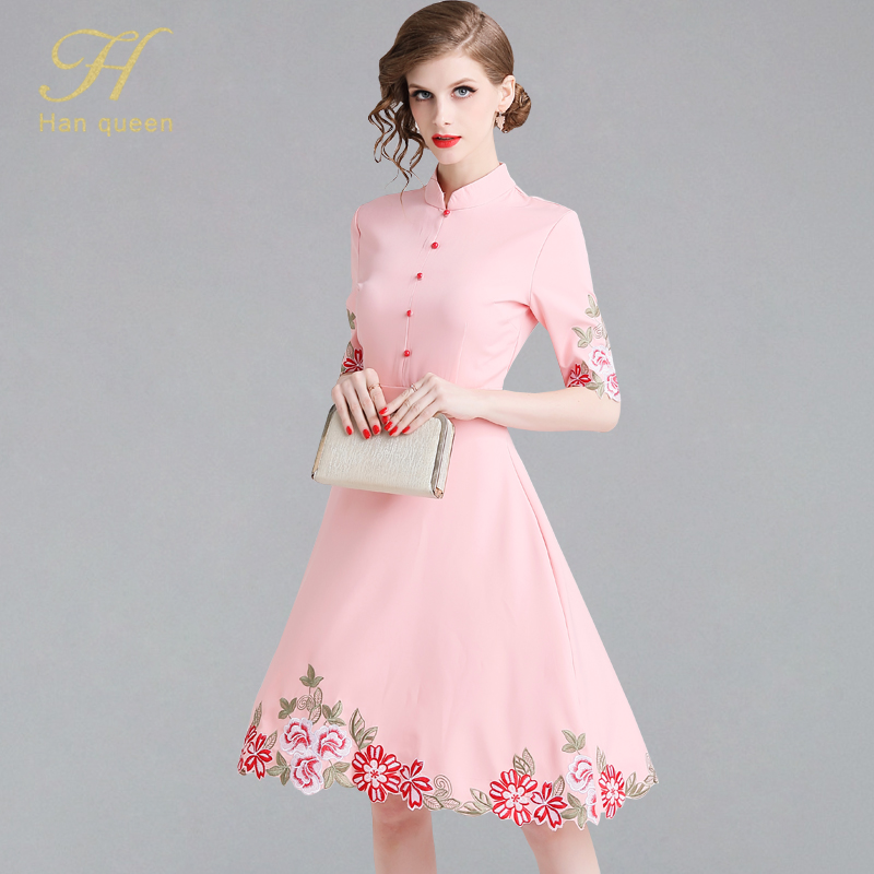 H han queen New Arrival Floral Embroider Womens Dresses Elegant A Line Casual Dress Ladies Slim Vintage Summer Office Vestidos