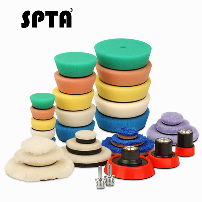 SPTA 32Pc Detailing Car Polishing Pad Drill Polisher Buffing Wheels Kit Backing Plate 5/8-11 M14 M16 Thread Mini Polish Pad Auto