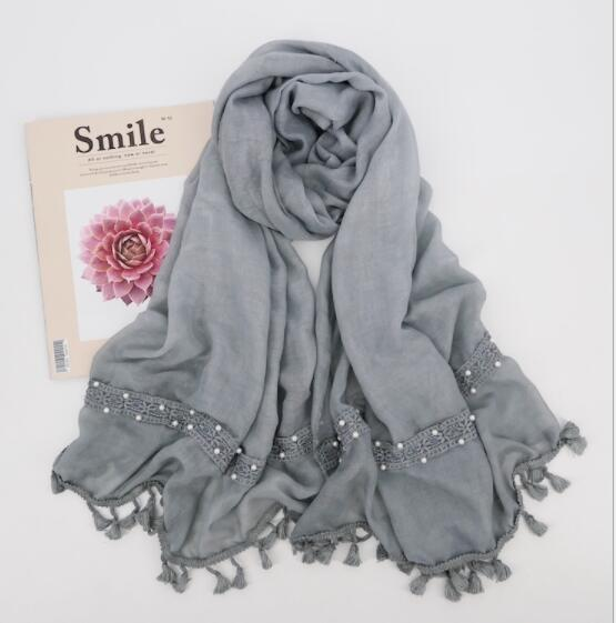 R8 High quality Big lace hijab   scarf   shawl tassel pearl women   scarf  /  scarves     wrap   headband 10pcs/lot can choose colors