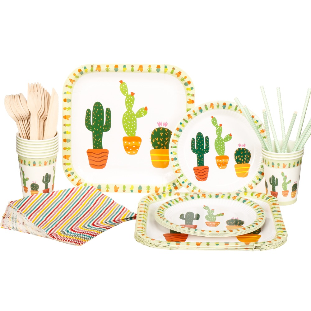 Christmas Party Paper Plates Part - 33: Riscawin The Cactus Paper Plates Birthday Wedding Party Decoration For 10  Packs Disposable Tableware Set Baby