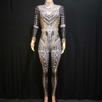 Sparkly Rhinestones Crystals Jumpsuit Women Nightclub Bar Prom Party Rave Outfit Singer Jazz DJ Dance Stage Performance Costume