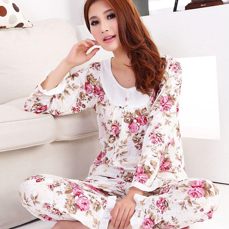 2017 baru wanita katun lengan panjang piyama tidur set perempuan pakaian lady floral remaja pijamas