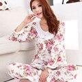 2015 Nova mulheres da longo-luva de algodão sono conjuntos de pijama roupa de dormir feminina lady floral Pijamas nightgowns pijamas sleepwear adolescente
