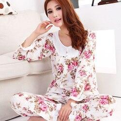 2018 الخريف المرأة طويلة الأكمام القطن النوم بيجامة مجموعات الإناث ملابس نوم سيدة باس النوم قمصان النوم المراهقات pijamas ملابس خاصة