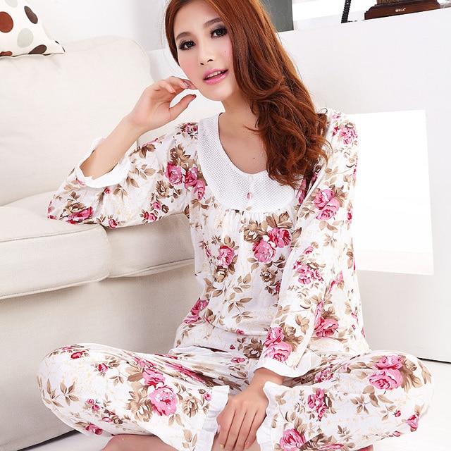 2018 Autumn women long-sleeve cotton sleep pajama sets female nightwear  lady Pyjamas nightgowns teenage pijamas sleepwear a68d2fe79