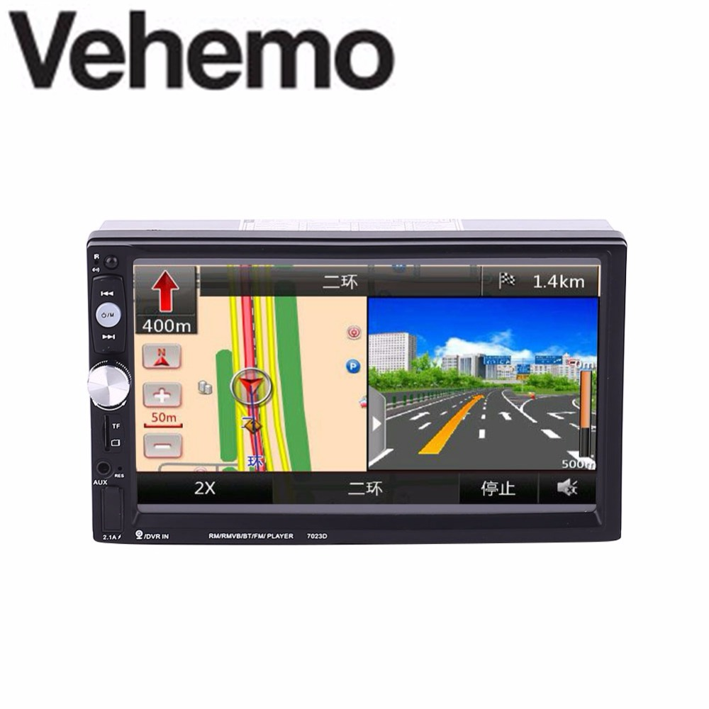 2 Double DIN 7 Inch 7023D Car Stereo MP5 Support With GPS FM Bluetooth Radio vehemo new 7 inch car vehicle gps fm radio bluetooth no dvd with north america map