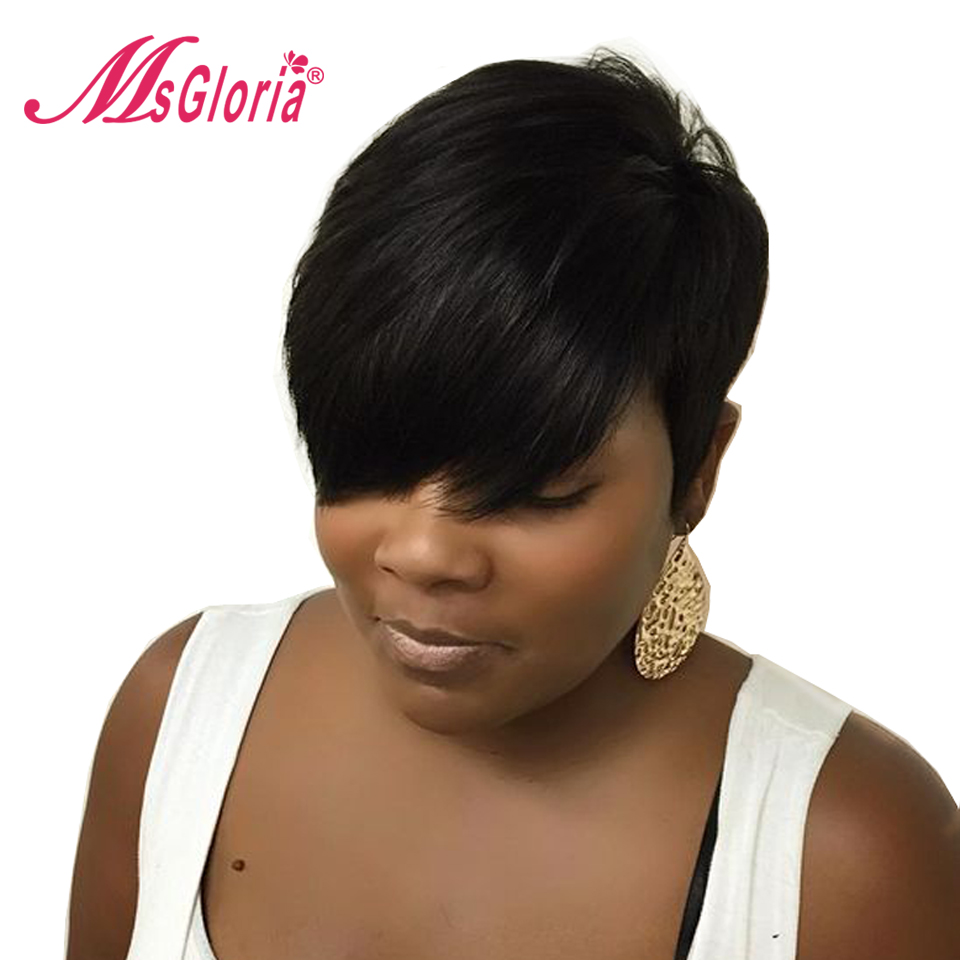 Msgloria 6inch Short Straight No Lace Wigs For Women Color 1B Peruvian Remy Human Hair Lace