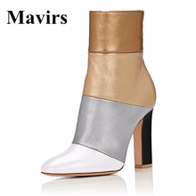 Mavirs 2017 Retro 12 CM Chunky High Heel Women Ankle Boots Multicolored Pointed Toe Booties With Side Zipper Shoes US Size 5-15