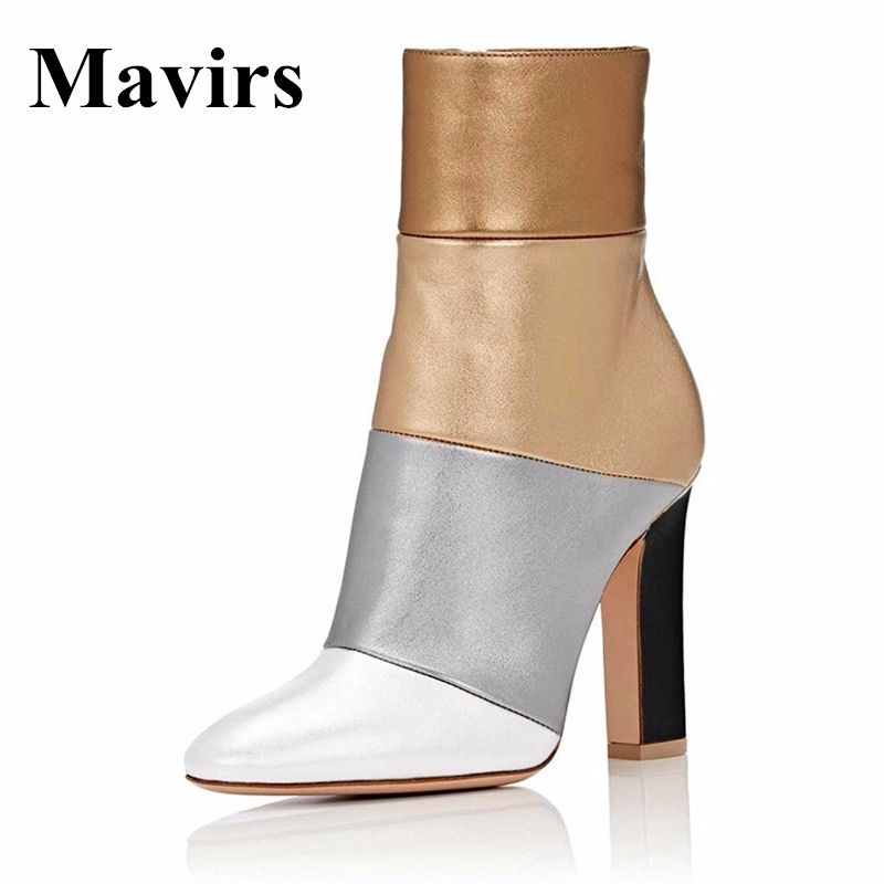 Mavirs Brand Booties 2018 Retro 12CM High Heel Ankle Boots for Women Multicolored Gold Silver Shoes Pointed Toe US Size 5-15 mavirs brand women ankle boots 2018 pointed toe matt 4 75 inches chunky high heels black gray gold white shoes us size 5 15