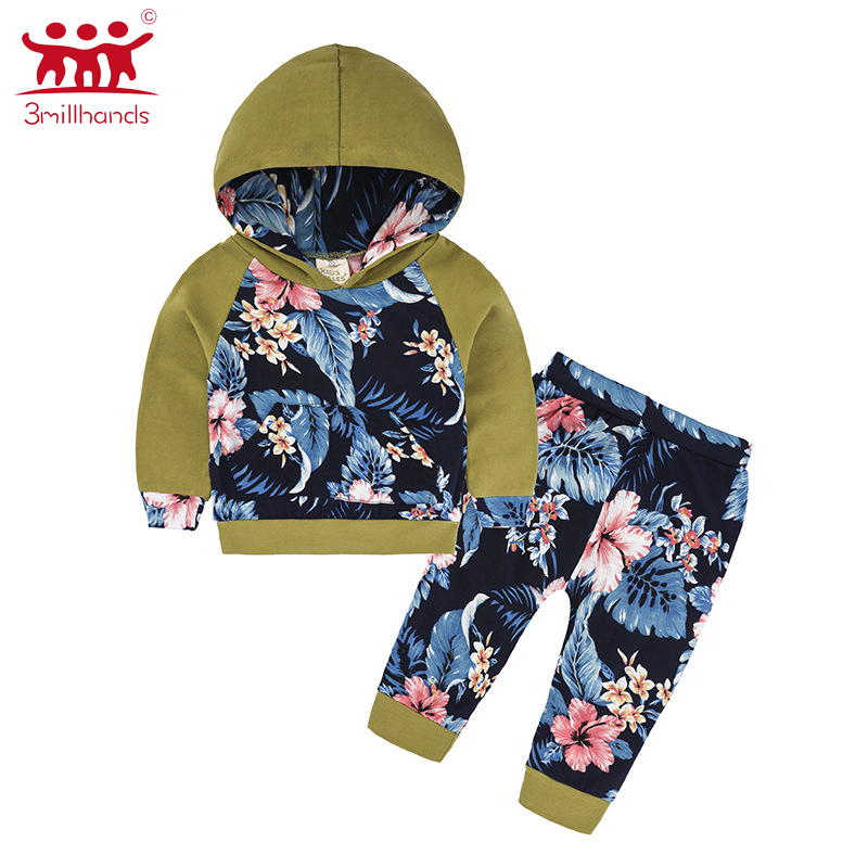 2017 new autumn warm cotton long sleeves kid cloth floral print fashion patchwork boy pullover 2pcs sets clothes