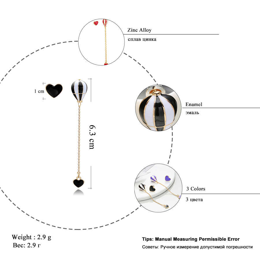 RAVIMOUR Balon Udara Panas Panjang Anting-Anting untuk Wanita Korea Asimetris Hati Emas Rantai Menjuntai Anting-Anting Fashion Perhiasan Telinga