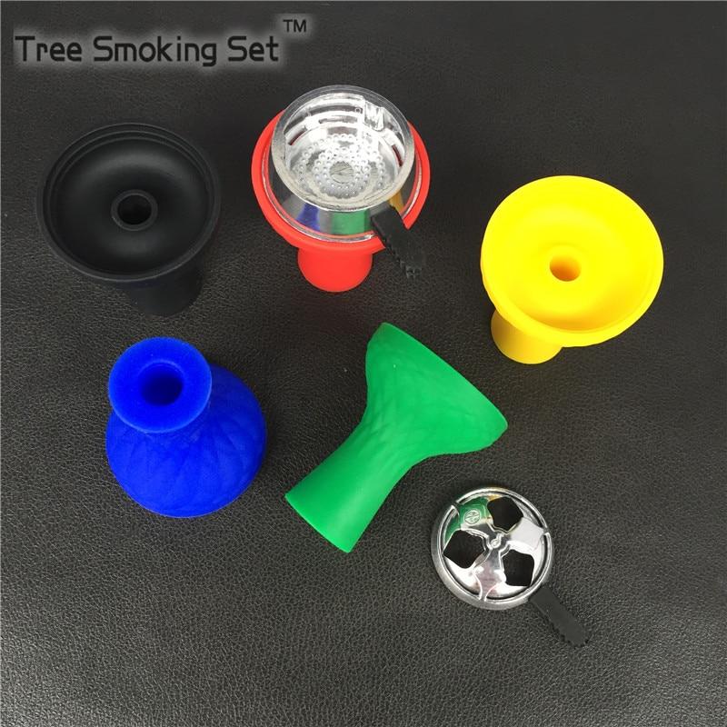 Hookah Shisha Charcoal Bowl Lotus With Silicone Bowl Water <font><b>Smoking</b></font> one pcs bowl and one pcs charcoal horder Burner Accessories