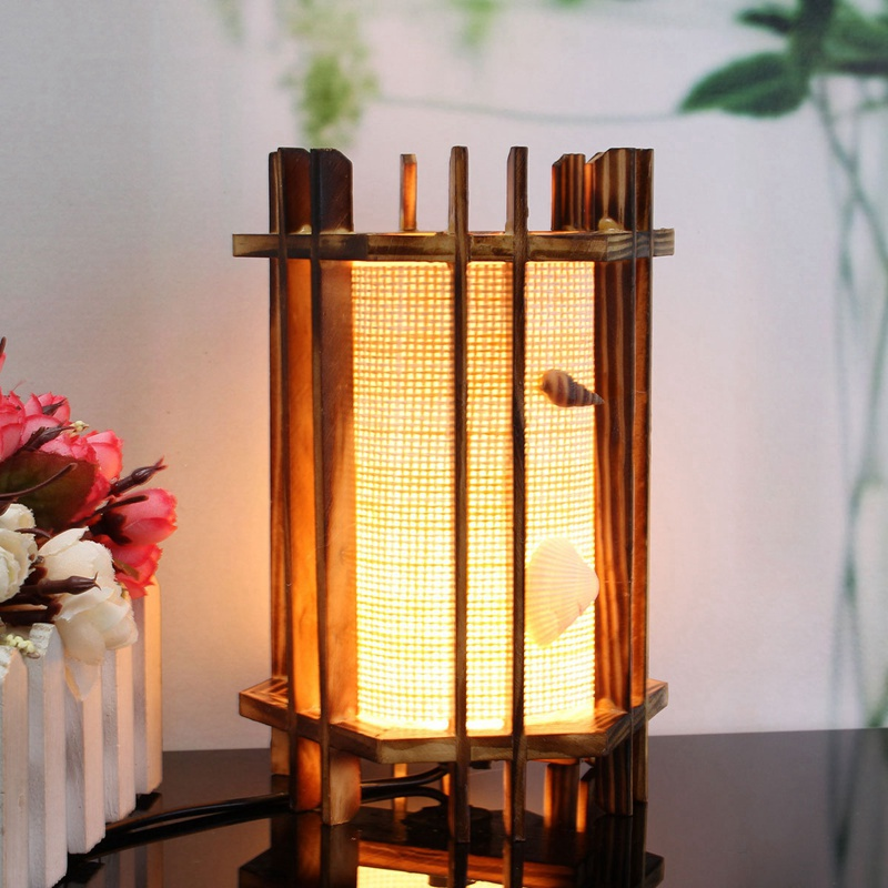 Vintage Artificial Desk Table Lamp Antique Lamp Warm Light Table Lamp With Cable Gift Wooden Seashells