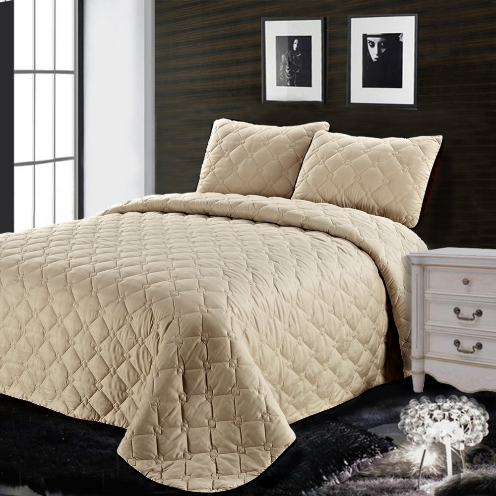 3PC Reversible Quilt Set Comfortable Coverlet Solid Color Beige ... : beige quilt - Adamdwight.com