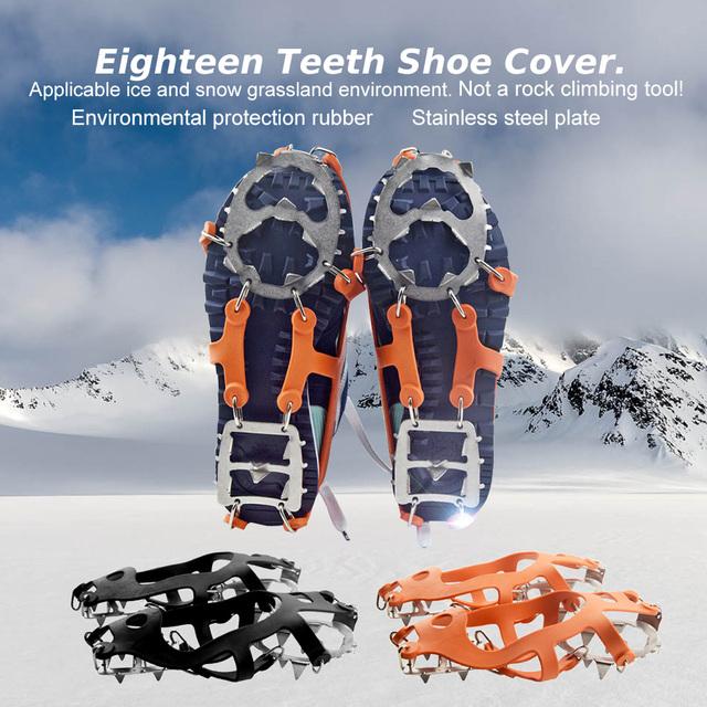 Soumit 18 Teetch Aço Inoxidável Anti-slip Non-slip Ice Grampo Set Climing Sapatos de Neve De Gelo ao ar livre Cobertura de Gelo Garras De Gelo Sapato chuteiras
