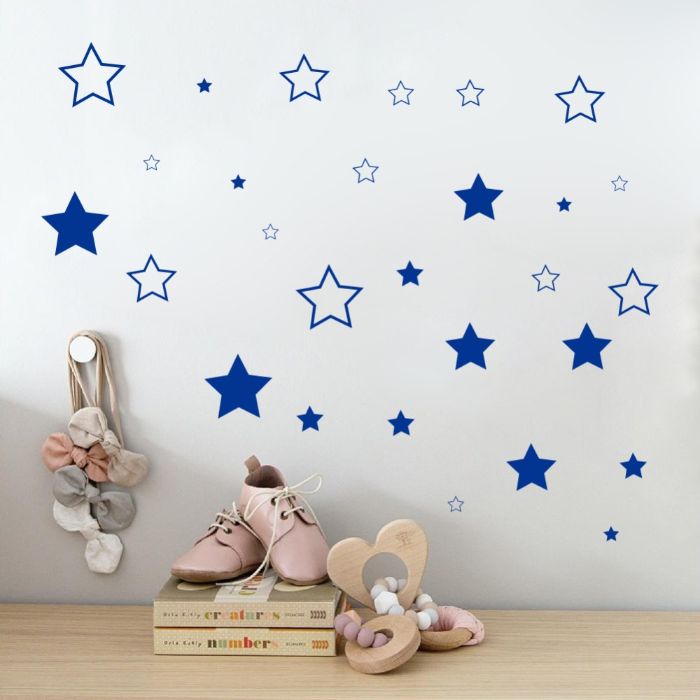 Benutzerdefinierte Farbe Sterne Wandaufkleber DIY Baby Kinderzimmer  Schlafzimmer Dekoration Abnehmbare Vinyl Wandbild Tapete Für Kinder Zimmer