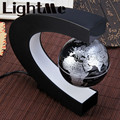 Creative C Shape Night Light Lamp Magnetic Levitation Globe World Map With Colorful LED Abajur Office Desk Decoration Lighting